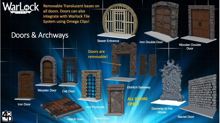 Doors /& Archways WizKids Warlock Dungeon Tiles